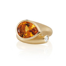 Large Whirl Orange Citrine Ring