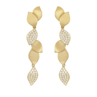Lotus Pave Diamond Long Earrings
