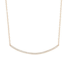 Moderne Pave Diamond Bar Necklace in Rose Gold