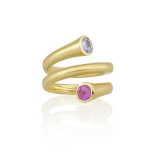 Whirl Pink and Blue Sapphire Spiral Ring