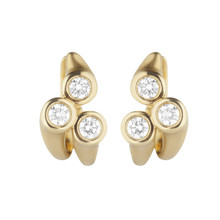 Whirl Three Stone Diamond Earrings