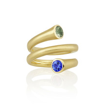 Whirl Green and Blue Sapphire Spiral Ring