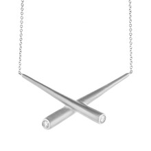 Whirl Cross Bar Pendant in White Gold