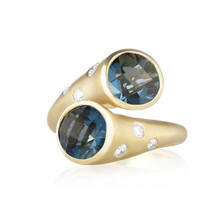 Whirl Blue Topaz and Pave Diamond Ring