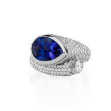 Large Whirl Sapphire and Diamond Ring