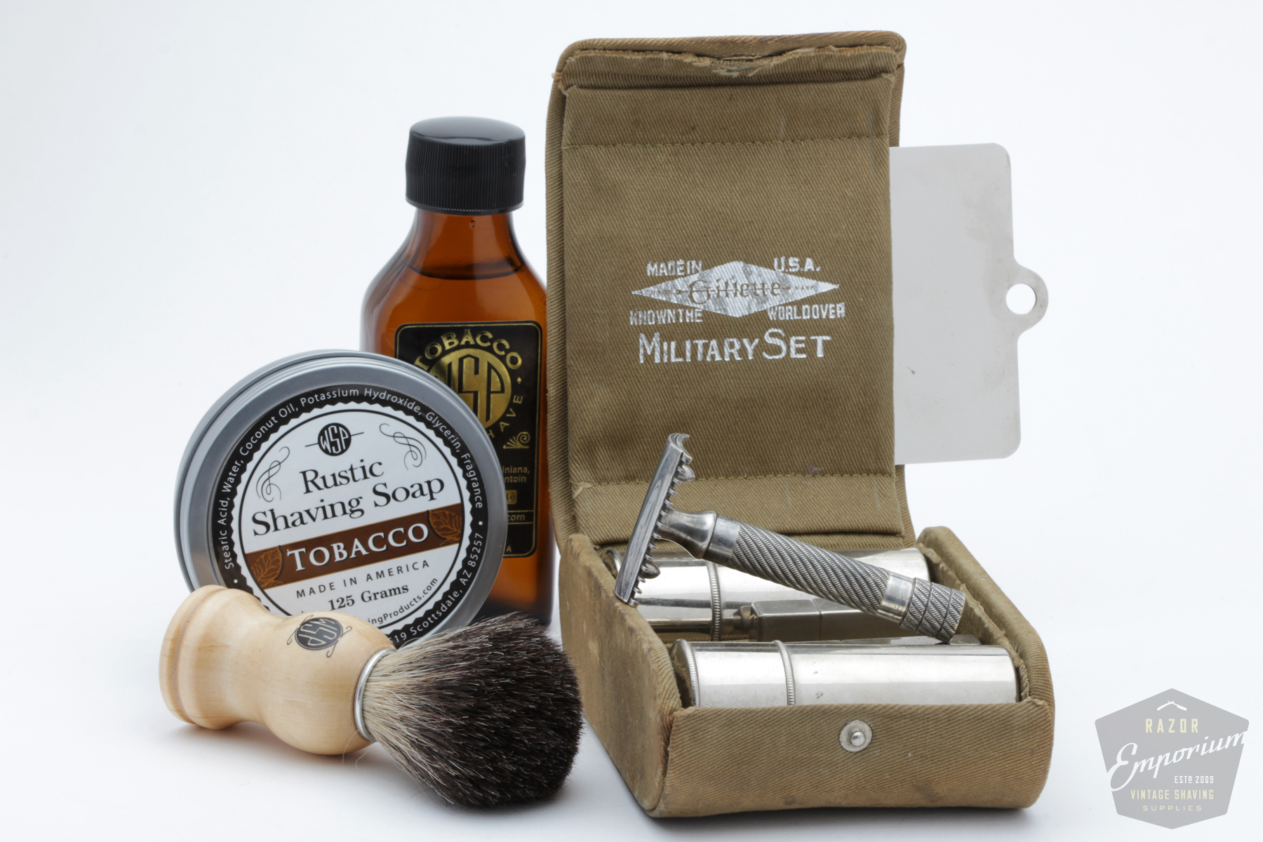 a shave in history 1917 gillette military set wsp tobacco black badger brush razor emporium. Black Bedroom Furniture Sets. Home Design Ideas