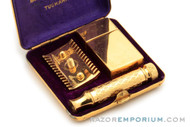 1929 Gillette Gold New Improved Tuckaway Style Travel DE Safety Razor Set