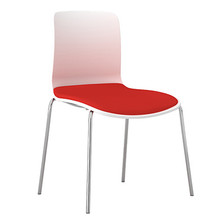 Dal Acti Chrome 4 Leg Chair White Shell / Red Vinyl