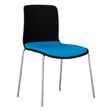 Dal Acti Chrome 4 Leg Chair Black Shell / Blue Vinyl