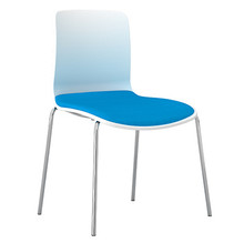 Dal Acti Chrome 4 Leg Chair White Shell / Blue Vinyl
