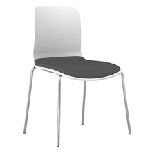 Dal Acti Chrome 4 Leg Chair White Shell / Light Grey Vinyl