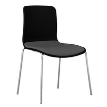 Dal Acti Chrome 4 Leg Chair Black Shell / Light Grey Vinyl
