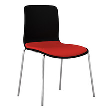 Dal Acti Chrome 4 Leg Chair Black Shell / Red Vinyl