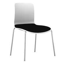Dal Acti Chrome 4 Leg Chair White Shell / Black Vinyl