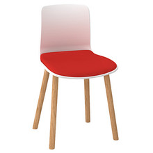 Dal Acti Wooden 4 Leg Chair White Shell / Red Vinyl