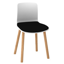 Dal Acti Wooden 4 Leg Chair White Shell / Black Vinyl