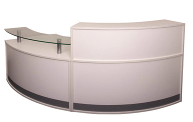 Full Height Reception Desk (on the right) with the Glass Top Module