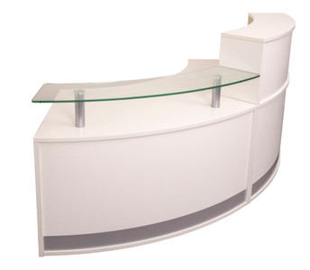 Full Height Reception Desk with the Glass Top Module