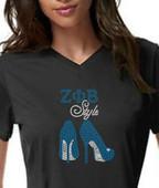 ZPB  Rhinestone Heels  Short Sleeves  Tee