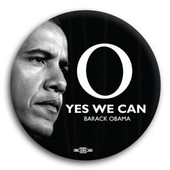 """O"" Yes We Can Barack Obama Button"