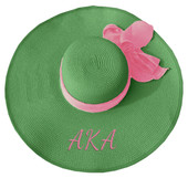 AKA  WOVEN STRAW  FLOPPY  HAT (GREEN)