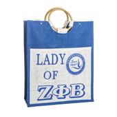 Zeta Phi Beta  Large  Shopping Jute Bag