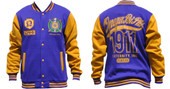 Jacket  -  Omega Psi Phi Fleece Purple Jacket with Gold Sleeves