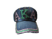 Cap -AKA  Bling Bling Distressed Blue Jeans Denim Baseball Cap .