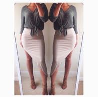 New custom handmade high leg asymmetric bodycon skirt 'Ava'