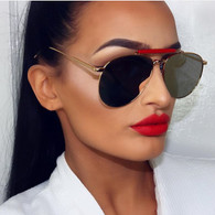 New 'Jayde' oversized aviator designer style sunglasses - BLACK