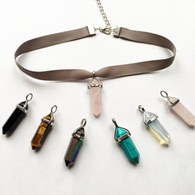 Ribbon choker necklace with quartz crystal pendant