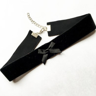 Wide black velvet ribbon with bow detail choker - 2.5cm wide