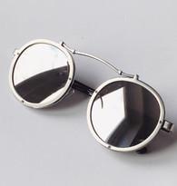 'Techno' mirrored round lens sunglasses - silver