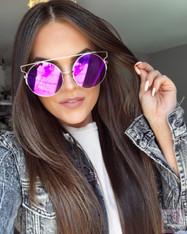 'Supreme' oversized purple/pink mirrored statement sunglasses