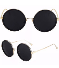 'IZZY' Black Round lens statement sunglasses