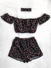'Ditzy' Bardot handmade floral print festival 3 piece set with high waisted shorts