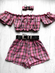 'Cotton Candy' bardot handmade pink plaid festival 3 piece set with high waisted shorts