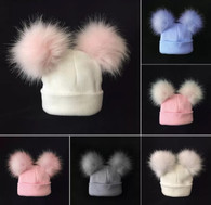 Baby/Kids double faux fur pom pom beanie hat - 6months to 3 years