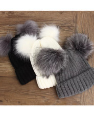 Adults double faux fur pom pom beanie hat