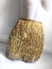 New*Sequin shimmy wrap skirt in yellow gold