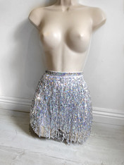 New*Sequin shimmy wrap skirt in SILVER HOLO