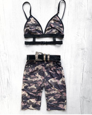 *NEW* 'Bad B*TCH' 2 piece handmade Camo festival set with high waisted cycle shorts