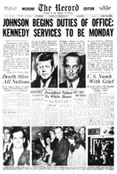 Lyndon Johnson Takes Office Front Page Reprint