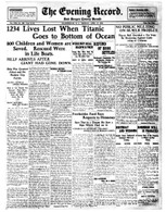 """Titanic Sinks"" Record Front Page Reprint"