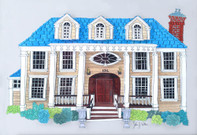 Custom Illustrated 18x14 3D Home Portrait, Framed and Matted