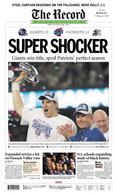 """Super Shocker"" NY Giants 2008 Super Bowl Victory Front Page Reprint"