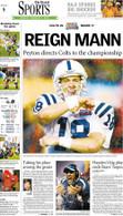 """Reign Mann"" 2007 Super Bowl Victory Sports Front Page Reprint"