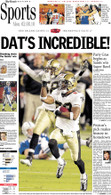 """Dat's Incredible!"" 2010 Super Bowl Victory Sports Front Page Reprint"