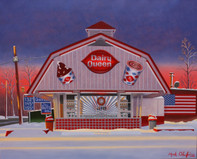Dairy Queen, Rochelle Park, framed oil painting on linen (Artist: Mark Oberndorf)