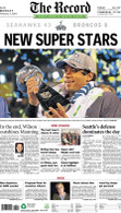 """New Super Stars"" 2014 Seattle Seahawks Super Bowl Victory Front Page Reprint"